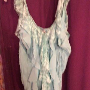 NWOT aqua Lacey sleeveless blouse